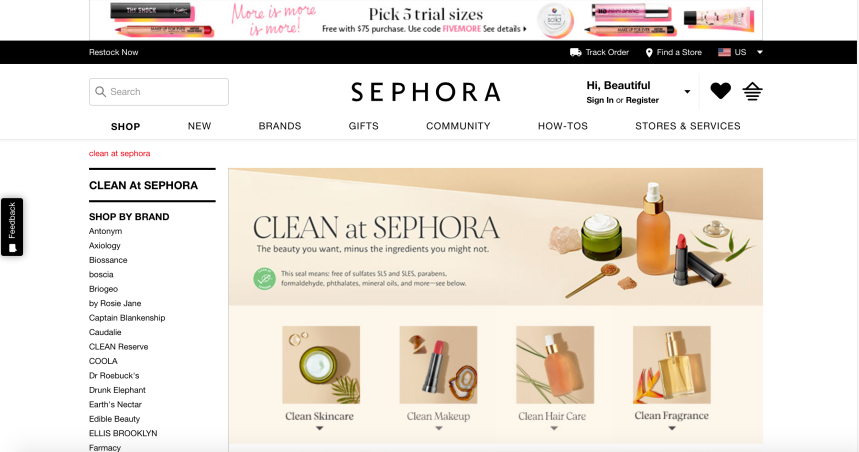 Clean Beauty at Sephora