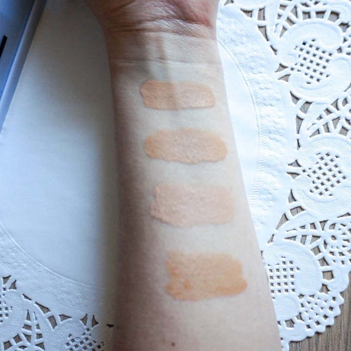 L'OREAL TrueMatch Foundation Review_Swatches Comparison | L'OREAL TrueMatch (N3 Natural Buff), WnW Photo Focus (Soft Beige), UD Naked (1.5 Fair Bisque), LM Tinted Moisturizer (Nude)