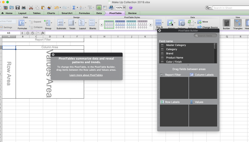 Beauty Inventory System | Pivot Table