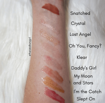 Kylie Cosmetics High Gloss Swatches - Shades: From Top-to-Bottom: Snatched, Crystal, Lost Angel, Oh You, Fancy?, Klear, Daddy's Girl, My Moon and Stars, I'm the Catch, and Slept On