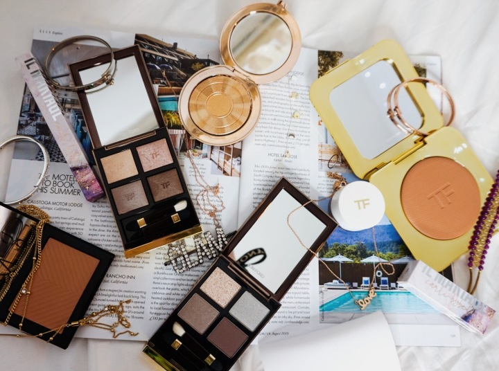 Yearlong Low Buy | Luxury Makeup Flatlay | Anastasia Beverly Hills, Estee Lauder, Il Makiage, JD Glow, Nars, Shiseido, Tom Ford | Tom Ford & Estee Lauder | Tom Ford Color Quads, Bronzer, Cream Shadow & Estee Lauder Bronze Godess Highlighter
